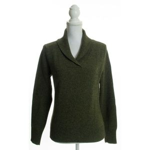 Brooks Brothers Green Lambswool Shawl Sweater